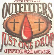 NEW! JUST ONE DROP OF JESUS' BLOOD WASH AWAY MY SINS Christian T-Shirt - M - XL