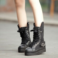 Womens Spike Stud Punk Goth Creeper Shoes Platform Mid Calf Boot Lace Up Sneaker