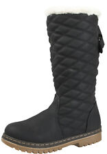 WOMENS FUR LINED QUILTED CALF WINTER SNOW BOOTS FLAT GIRLS LADIES SHOES SIZE 3-8