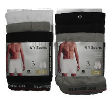12prs MENS RETRO NY SPORTS BOXER SHORTS SOFT RIBBED COTTON BUTTON FLY ALL SIZES
