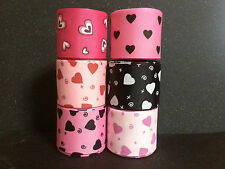 "1.5"" Grosgrain Ribbon Heart 3 5 Yards Lot Bow U Pick Color Pink Red Black XOXO"