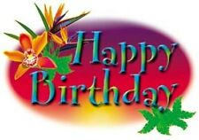 HAPPY BIRTHDAY TROPICAL EDIBLE IMAGE CAKE TOPPER! FOR CUPCAKES & COOKIES TOO!