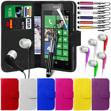 PU Leather Wallet Case Cover, LCD Film, Stylus & Earphones for Nokia Lumia 520