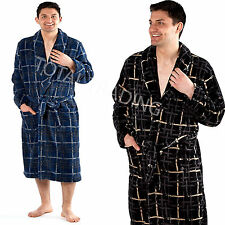 Mens Thermal dressing gown Bath robe Fleece Winter Warm Modern Check Wrap 9755