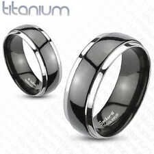Solid Titanium Two Tone Black Dome Men's Ring Wedding Band Engagement Ring