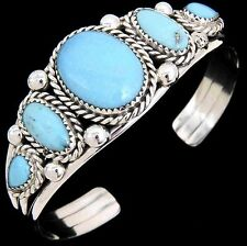 Native American Navajo Sterling Silver Turquoise Multi-Stones Cuff Bracelet s6-7