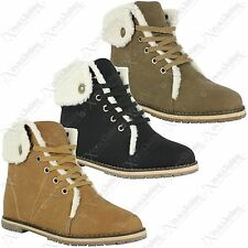 LADIES WOMENS ARMY COMBAT FUR LINED BOOTS BIKER WALKING ANKLE WINTER SHOES SIZE