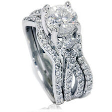 1.70CT Twist Infinity REAL Diamond Engagement Ring Wedding Band Set White Gold