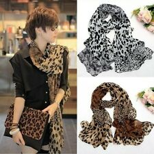 Women Sexy Leopard Chiffon Batwing Sleeve Shawl Scarf Neck Stole Wrap Scarves