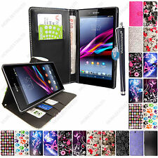 For Sony Xperia Z Ultra XL39H C6833 Printed Leather Wallet Flip Case Cover + PEN