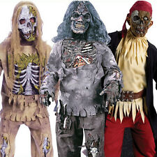 Deluxe Boys Zombie Fancy Dress Halloween Costume Kids Child Outfits + Mask 4-14