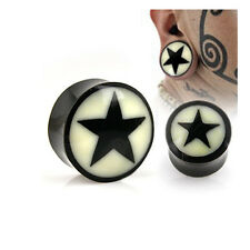 Pair of Organic Buffalo Horn Solid Saddle Fit Ear Plugs Natural Bone Star Inlay