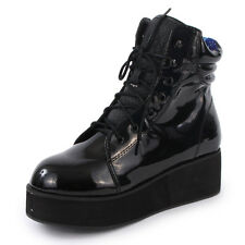YRU Raze Womens Laced Synthetic Leather Platform Boots Black Patent