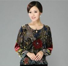 100% mulberry silk Chinese women's tops/T-shirt Cheongsam Sz: L XL 2XL 3XL 4XL