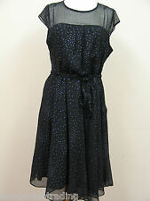 PLUS SIZE BLACK DRESS LADIES WITH SILVER GLITTER LINED CAP SLEEVE PARTY