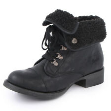 Blowfish Karona Womens Laced Synthetic Leather Ankle Shoes Boots Black