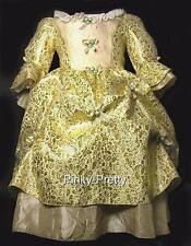 Golden Jacquard Vintage Victorian Dress Party Fancy Costume Girl Age 2-10y VD005