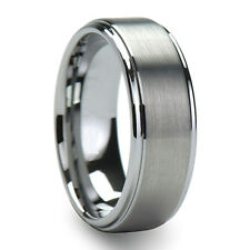 8mm Tungsten Carbide Mens Brushed Stepped Edges Wedding Band Ring Size 6 - 13