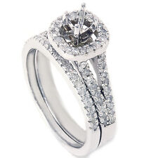 .70CT Pave Halo Diamond Engagement Ring Set Semi Mount Setting 14K White Gold
