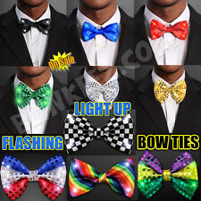 LED Light Up Blinking Flashing Fun Bow Tie Black, Red, Green, MardiGras and More
