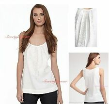 $158 Eileen Fisher White Pleated Front Linen Jersey Sequin Shimmer Tank Top