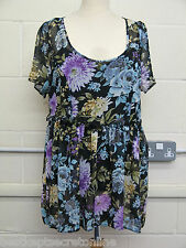 PLUS SIZE TOP WITH CAMISOLE SHEER CHIFFON FLORAL PRINT FRILL WAIST