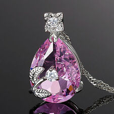 Women Gift Jewelry Pear Cut White Gold Plated Pendant Necklace Free Chain