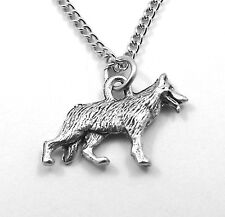 Child's Pewter German Shephard Pendant on a Silver Plated Link Chain Necklace