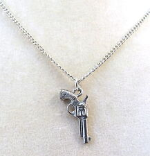 Pewter Revolver/Gun Charm on a Silver Plated Link Chain Necklace -0753
