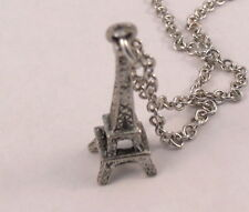 Pewter Eiffel Tower Pendant on a Silver Tone Link Chain Necklace - 5231