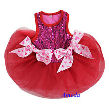 Valentine's Day Bling Red Hot Pink Hearts Bow Tutu Dog Clothes Party Dress XS-L