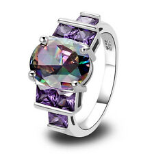 Hot Oval Cut Rainbow Topaz & Amethyst Gemstones Silver Ring Size 7 8 9 10