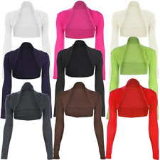 Long Sleeve Plain Womens Shrug Bolero Cropped Cardigan Top Ladies Size  Womens