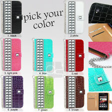 Crystal Studded Leather Wallet Case Cover For Sony Xperia Z 4G LTE C6603 C6602