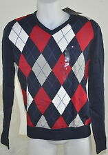 Tommy HOMME PULL NEUF 100% Coton BLEU Rouge COLV tailles S, M, L, XL, XXL 2014