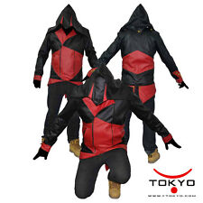 V3 Assassins Creed Conner Kenway Hoodie Faux Leather Jacket Coat black red 1020