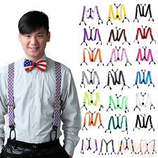Mens Button Hole Classic Solid Elastic Suspenders Y-Shape Adjustable Braces