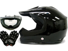 Youth Gloss Black Dirt Bike Motocross Off-Road Helmet w/Goggles+Gloves~S, M, L