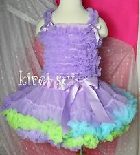 Lavender Blue Green Pettiskirt Ruffles Top 2pc Birthday Party Dress 1-7Y E4AWC13