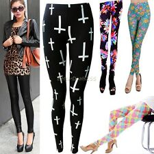 Women LadiesCross Punk Printed And Leater Tight/ Floral Pants Leggings