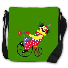 Grinning Clown Riding Bicycle With Red Nose Black Canvas Shoulder Bag