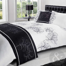 5PC COMPLETE BEDDING SET - Black & White Bedding Luxury Duvet Cover Bed Sets
