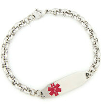 Unisex Medical ID Stainless Link Bracelet with Tag-Diabetes-Coumadin-Engrave