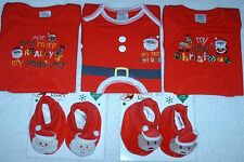 NWT infant My First Christmas bodysuit one-piece OR matching baby Booties Santa