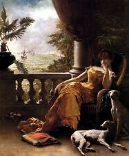 LADY GIRL ON THE BALCONY WITH DOGS PAINTING BY A. STEVENS BELGIAN ARTIST REPRO