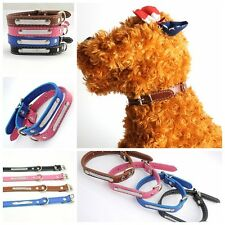 Pet Puppy can be lettering PU leather adjustable 3 holes cat dog Collars 09