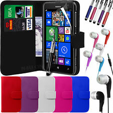PU Leather Wallet Case Cover, Film, Pen & Earphones for Nokia Lumia 625