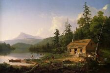 Rustic log cabin scene mountains wildlife nature poster   PERSONALIZE FREE