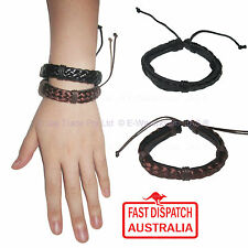 Mens Ladies Hemp Leather 70s 70's Boho Hippie Surfer Sports Bracelet Wristband