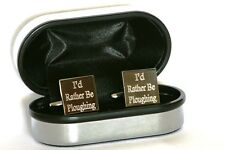 I'd Rather Be Farming Cufflinks Personalised Young Farmers, Wedding Novelty Gift